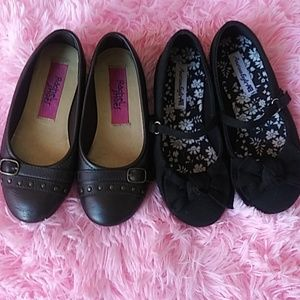 Pair of 2 toddler girl shoes.